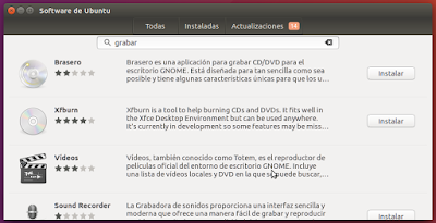 Software de Ubuntu grabar