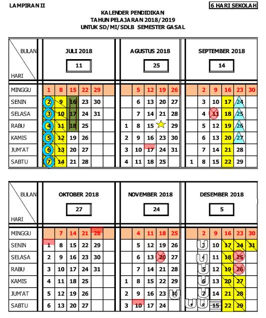 Kalender Pendidikan Provinsi Jawa Tengah Tahun Pelajaran 2018/2019
