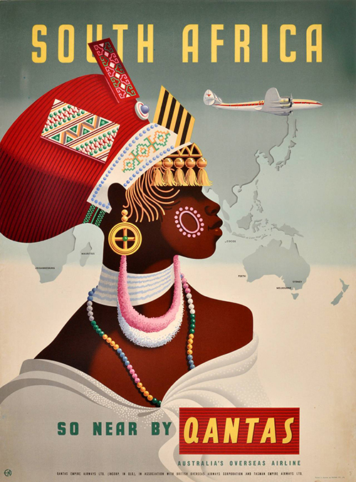 South Africa Qantas - Vintage Travel Poster, classic posters, free download, free posters, free printable, graphic design, printables, retro prints, travel, travel posters, vintage, vintage posters, vintage printables