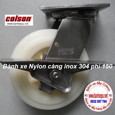 Bánh xe đẩy càng inox 304 Colson chịu lực phi 150 | 4-6409-824-BRK3 www.banhxedaycolson.com