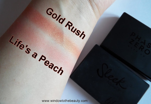 gold rush and lie's a peach compare swatches