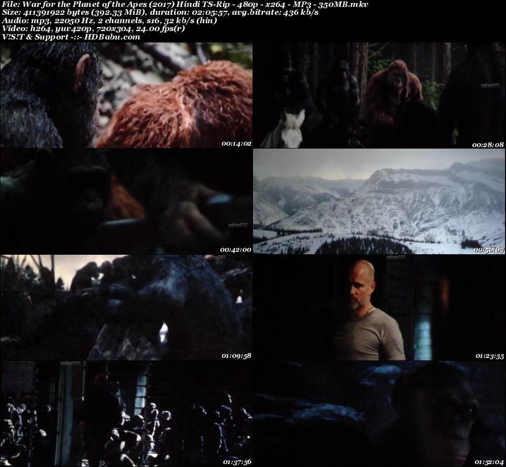 ar for the Planet of the Apes (2017) Hindi TS-Rip - 480p - x264 - MP3 - 350mb Screenshot