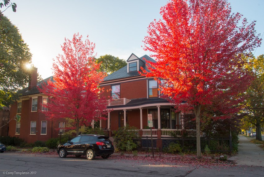 Portland, Maine USA October 2017 photo by Corey Templeton. Some bright fall colors in the West End neighborhood.
