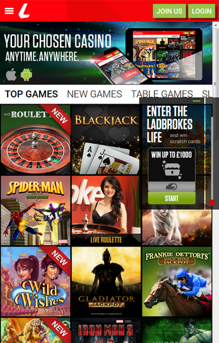 Ladbrokes Casino Mobile Screen