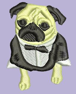 perro pug con smoking en emb