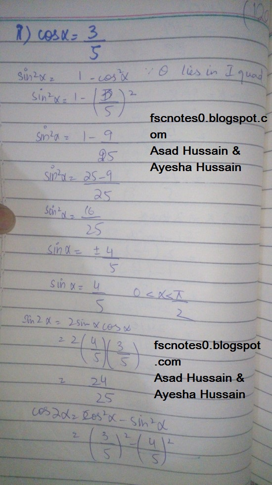 FSc ICS FA Notes Math Part 1 Chapter 10 Trigonometric Identities Exercise 10.3 Question 1 - 4 Written by Asad Hussain & Ayesha Hussain 3