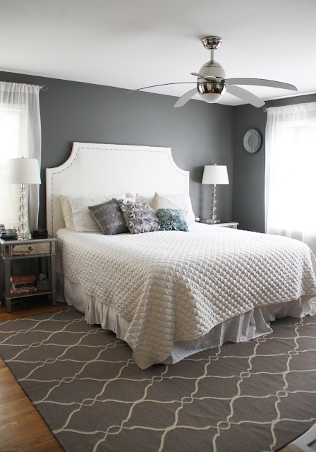 Grey White Metallic Bedroom Makeover