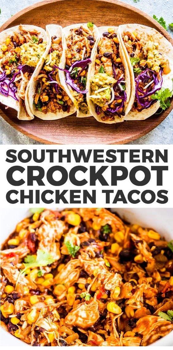 Southwestern Crockpot Chicken Tacos