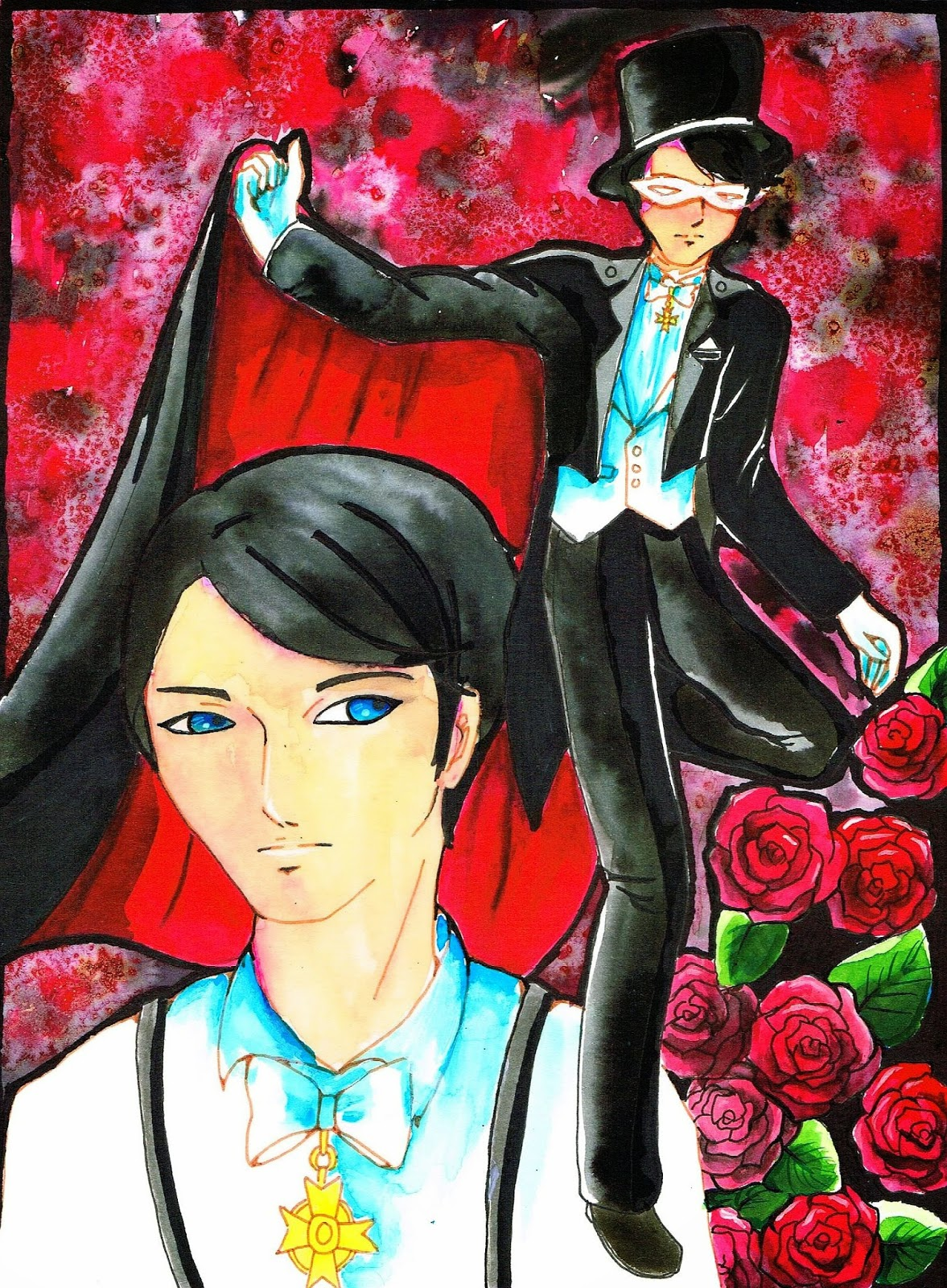 Sailor Moon Tuxedo Kamen Crystal Fanart Aquarell
