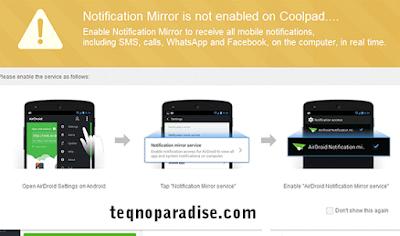 mirror notification airdroid
