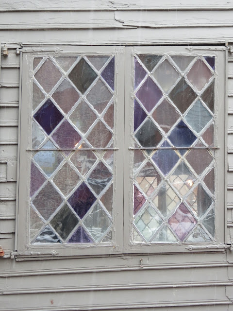Venture & Roam: A Stained Glass Window from The Paul Revere House, purple glass, blue glass,