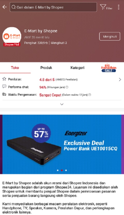 E-Mart By Shopee Menjadi Toko Komputer Terlaris di Shopee