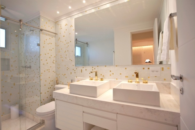 Banheiros Decorados Com Duas Cubas : Construindo minha casa clean banheiros decorados com