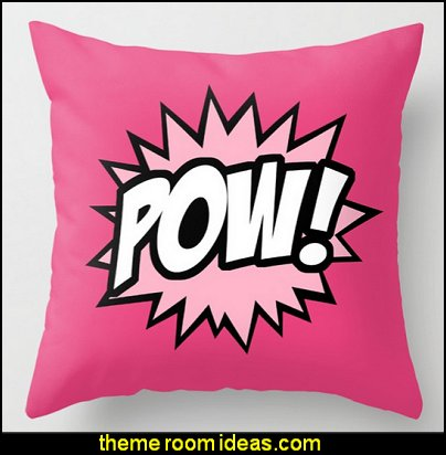 POW throw pillow  superhero bedroom decorating ideas - superhero decor - Superhero Bedroom Ideas for Boys - Superhero Bedroom Ideas for Girls - Superhero home decor - Marvel superhero bedroom accessories - Avengers room decor ideas - Superheroes bedroom ideas - Batman furniture - superman decor - Captain America - comic book bedding - DC Comics Justice League - Wonder Woman furniture - spiderman bedroom decor