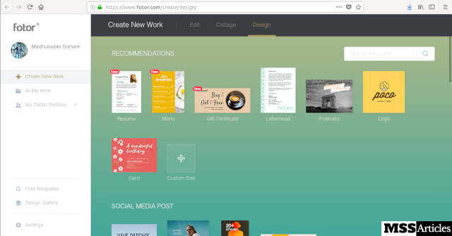 Fotor design screenshot - MSS Articles