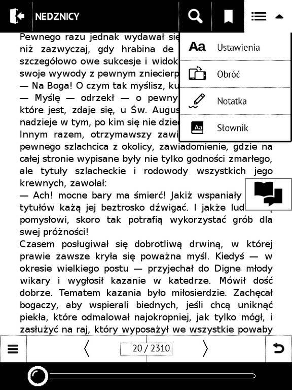 PocketBook Basic Touch 2 Save & Safe – menu e-booka