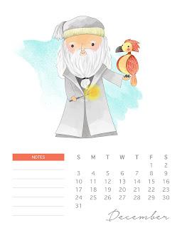Calendario 2017 de  Harry Potter  para Imprimir Gratis  Diciembre.