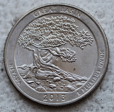 Reverse of 2013-D Great Basin quarter, Nevada, tree
