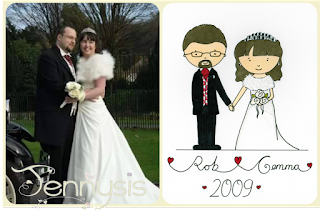 Illustrated wedding portrait - www.jennysis.com