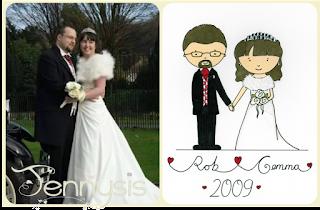 Illustrated wedding portrait - www.jennysis.com