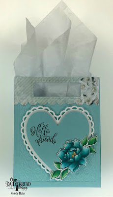 Our Daily Bread Designs Stamp/Die Duos: Hello Friend, Custom Dies: Card Caddy & Gift Bag, Gift Bag Handles & Topper, Ornate Hearts, Paper Collection: Romantic Roses