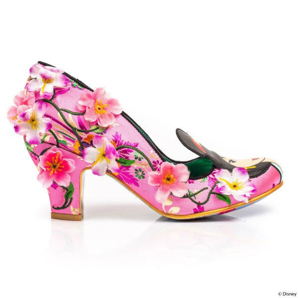 mid heel pink floral court shoe with flower embellishments