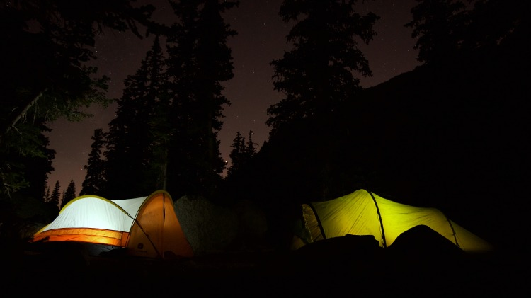 Night Illuminated Tents Photography