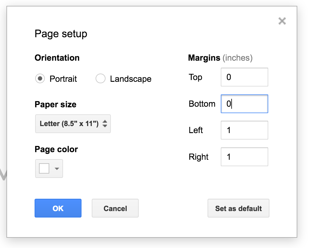 How to color in google docs - Each Margin Is Set At 1 Inch And Can Be Changed I Usually Change All To Zero But You Can Just Change The Top And Bottom If You D Like To Only Control