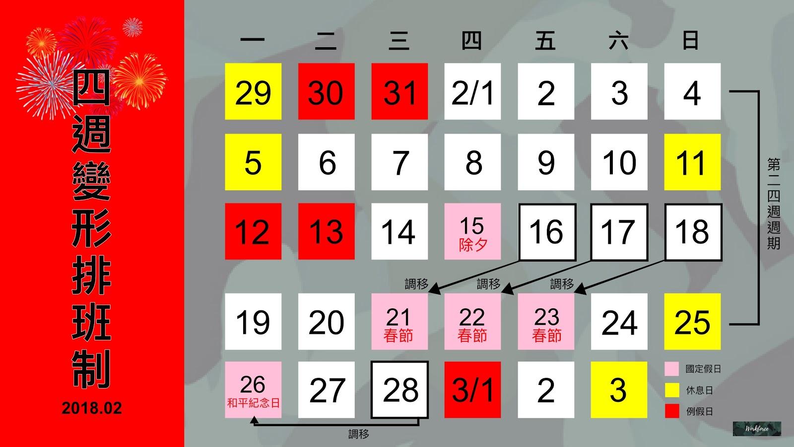 2018年(107年)年假;春節四週變形工時