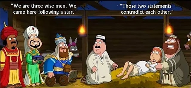 Funny three wise men visiting Mary and Joseph - We are three wise men.  We came here following a star. Those two statements contradict each other.