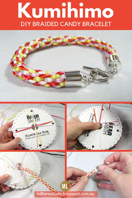 DIY Kumihimo Braided Candy-Coloured Bracelet tutorial sheet
