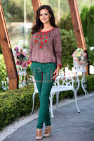 Pantaloni verzi eleganti din brocart