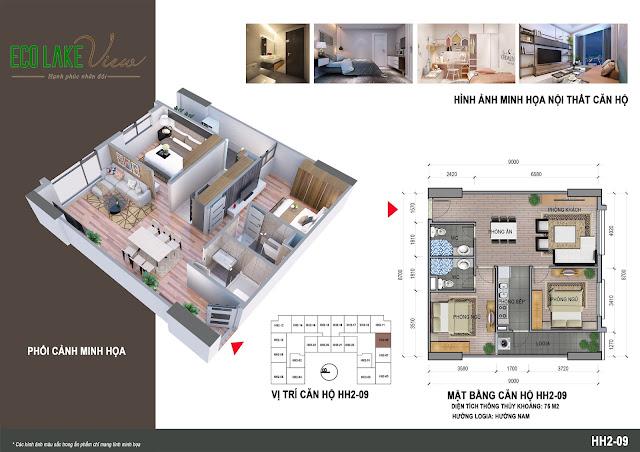 Căn hộ 09, diện tích 75m2 - 2 phòng ngủ