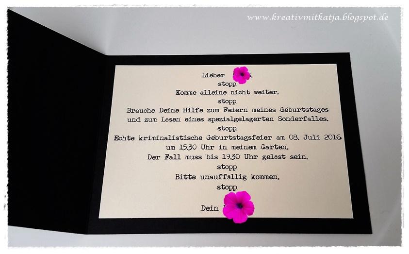kreativ mit katja: einladung zur detektiv-party, Einladung