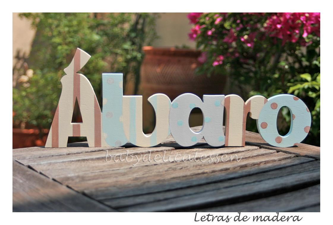 Baby delicatessen letras de madera lvaro nombre en - Letras en madera ...