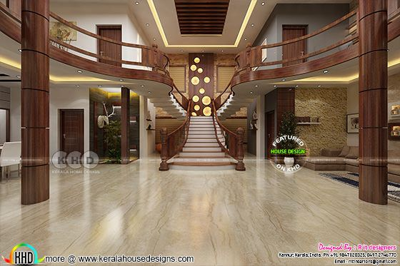 Stunning wooden bifurcated stair design