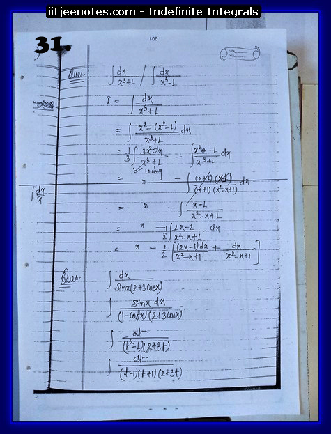 indefinite integrals iitjee3