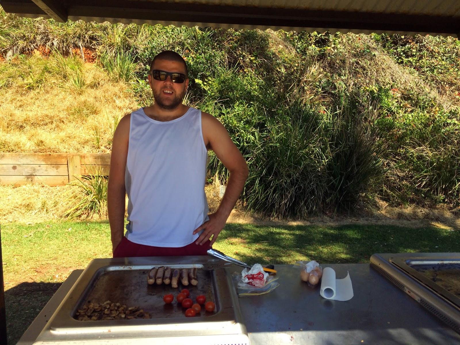 Boy using Free BBQs Shelley Beach Port Macquarie