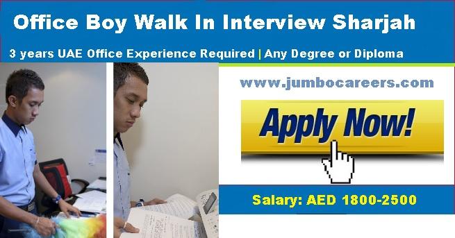 Office Boys Jobs in Sharjah - Walk In Interview Latest