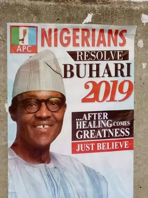 2019: Buhari's campaign poster floods abuja