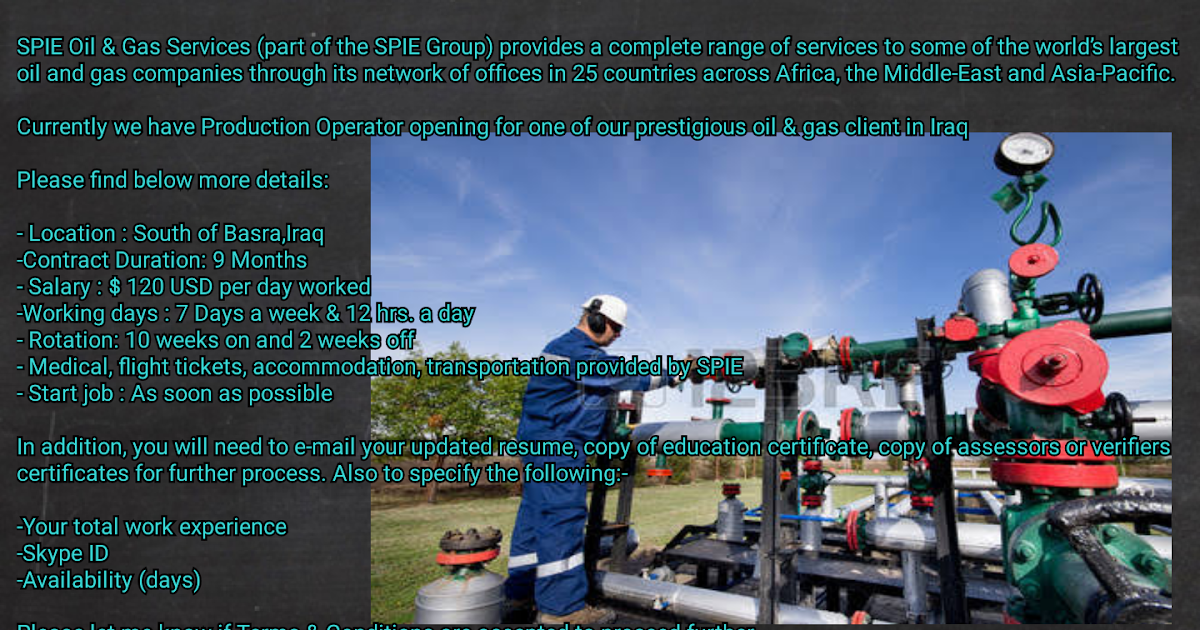 Oil and Gas Jobs Production Operator