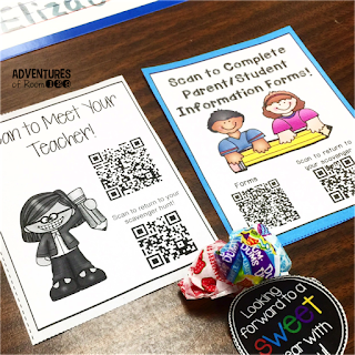 Need some fresh ideas for Back to School Night?  Come read all about how I set up my scavenger hunt, full of stations, information for families, using QR codes to help save paper, and even set up a practicing at home display for parents full of activities and printables for families to use at home with their student.  So many fun ideas for an elementary Open House! You can even check out my giving tree display!