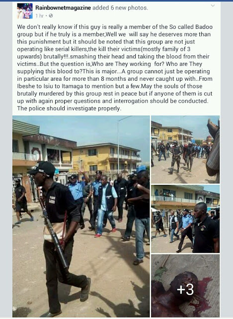 More Photos and Full Story of the Suspected Badoo Member Killed in Aga, Ikorodu by Angry Mob