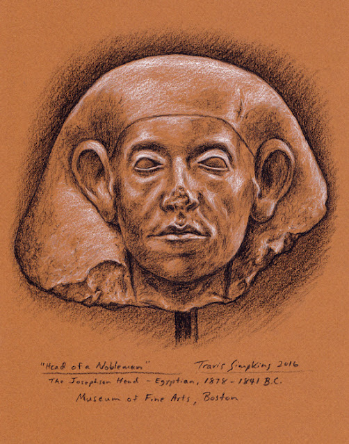 Ancient Egyptian Head of a Nobleman. Museum of Fine Arts, Boston. by Travis Simpkins