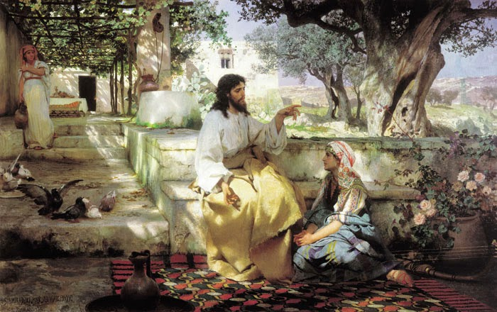 Jesus com Marta e Maria - Pinturas com temas bíblicos