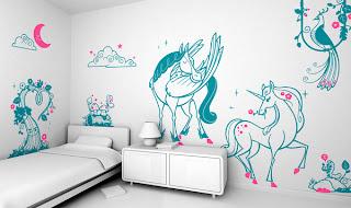 Decoración con vinil para habitaciones de niñas.