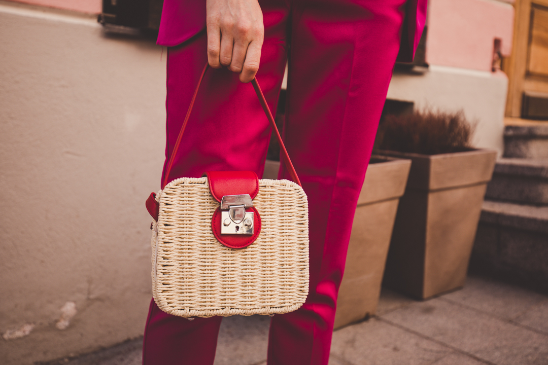 red square straw bag