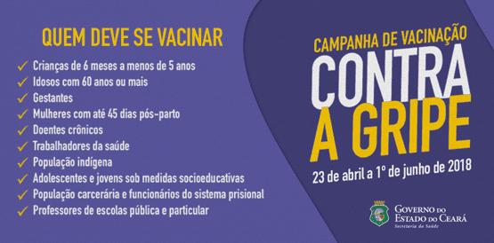 3cafe85b07 Fortaleza pretende imunizar 630 mil contra H1N1
