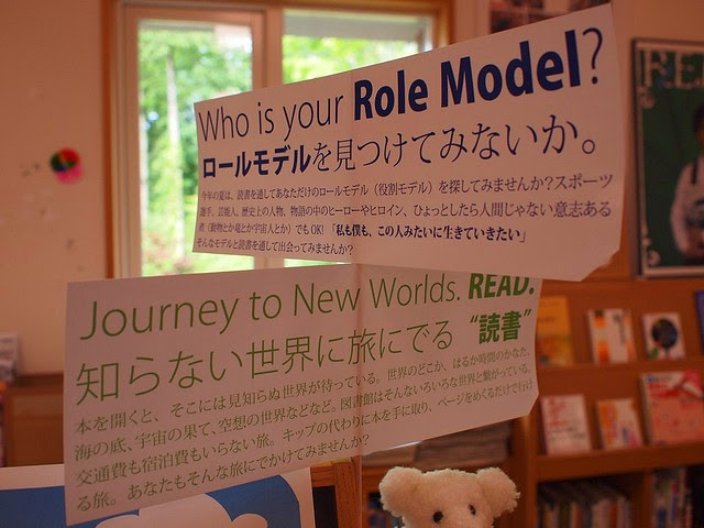 Placards of 'who is your role model' in two languages