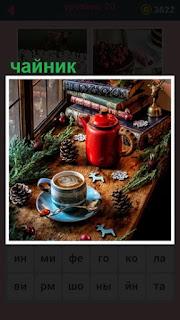 на подоконнике стоит красный чайник и чашка с кофе